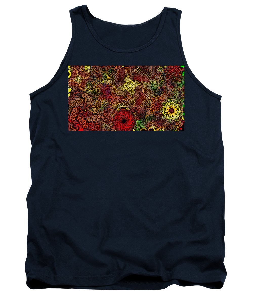 Abstract Digital Painting Tank Top featuring the digital art Fantasy Flowers Woodcut by David Lane