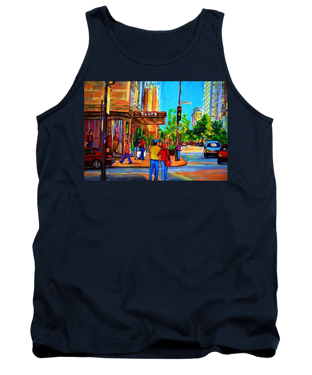 Holt Renfrew Tank Top featuring the painting Fashionable Holt Renfrew by Carole Spandau