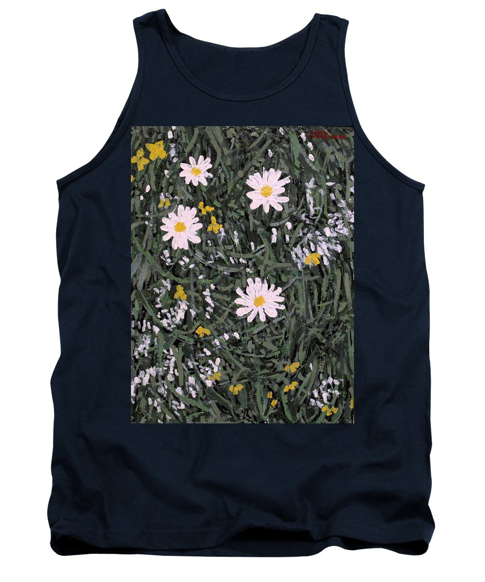 Daisies Tank Top featuring the painting Field Daisies by Ian MacDonald