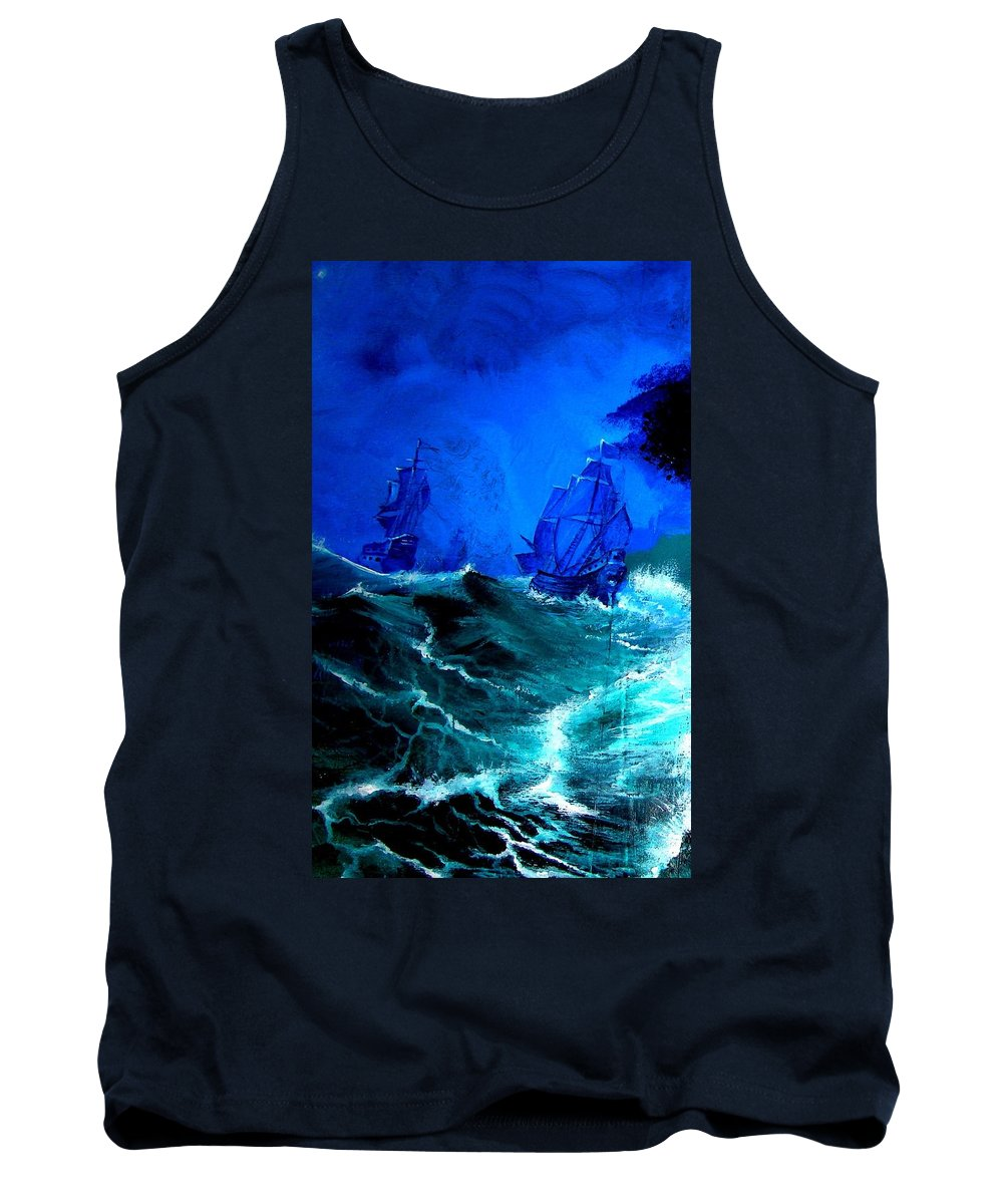 Seascape Tank Top featuring the painting Fight For Life by Glory Fraulein Wolfe