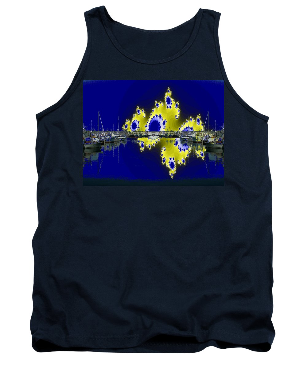 Seattle Tank Top featuring the digital art Fishermans Terminal by Tim Allen