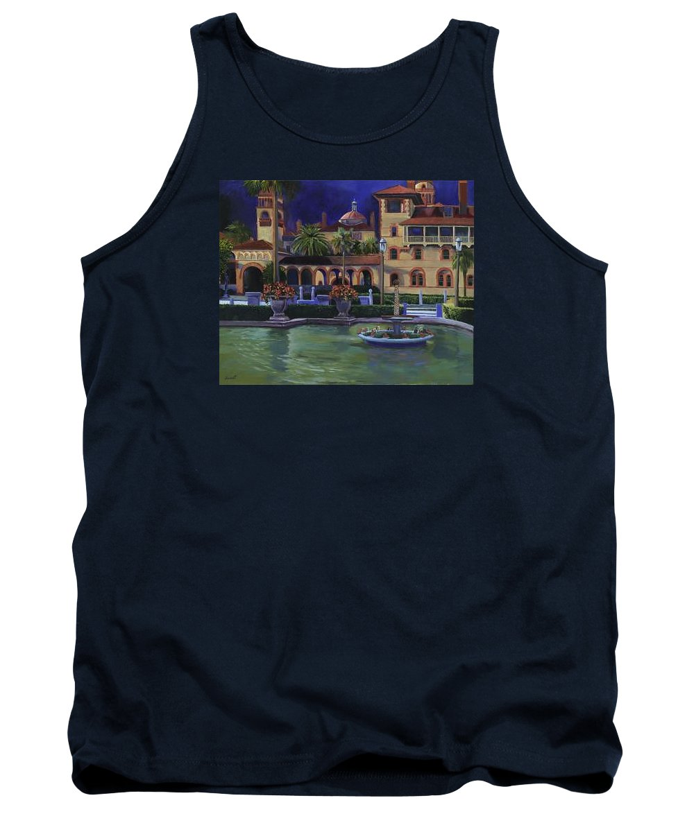 St. Augustine\'s Flagler College Campus Tank Top featuring the painting Flagler College II by Christine Cousart