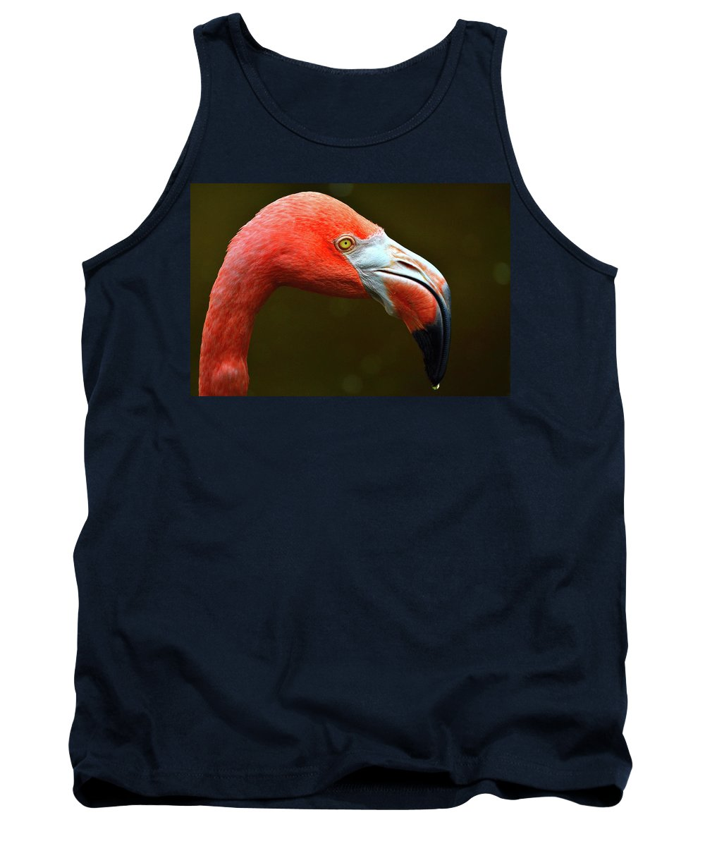 Flamingo Tank Top featuring the photograph Flamingo Closeup by Krista Russell
