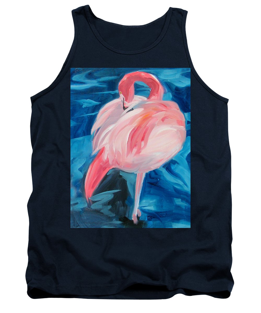 Tropical Tank Top featuring the painting Flamingo by Neal Smith-Willow