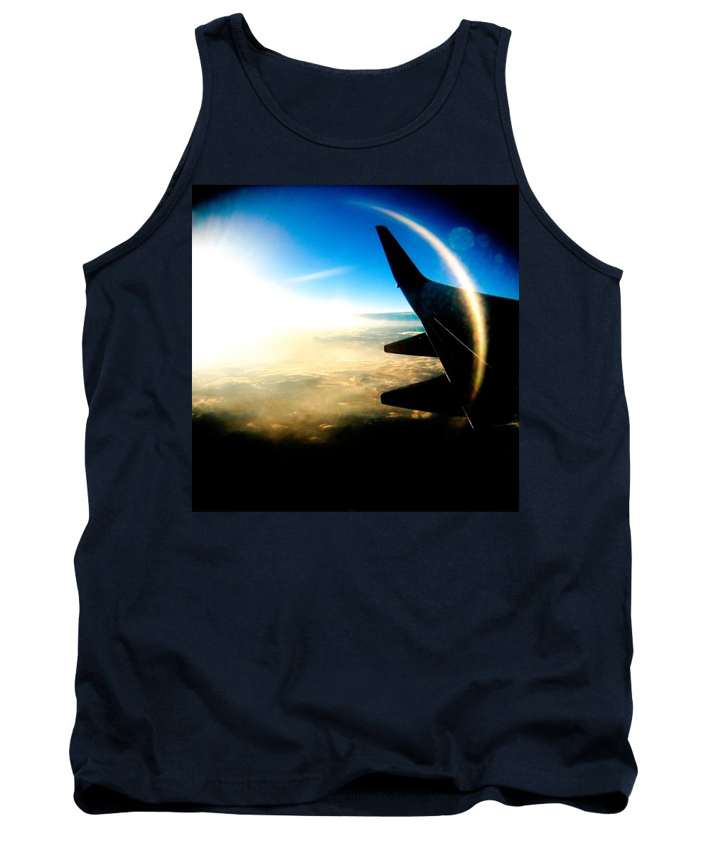Plane Sky Sun Holga Color Photograph Tank Top featuring the photograph Fly Like A Dolphin by Olivier De Rycke