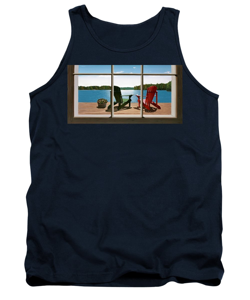 Adirondack Chairs Tank Top featuring the painting From A Window by Kenneth M Kirsch