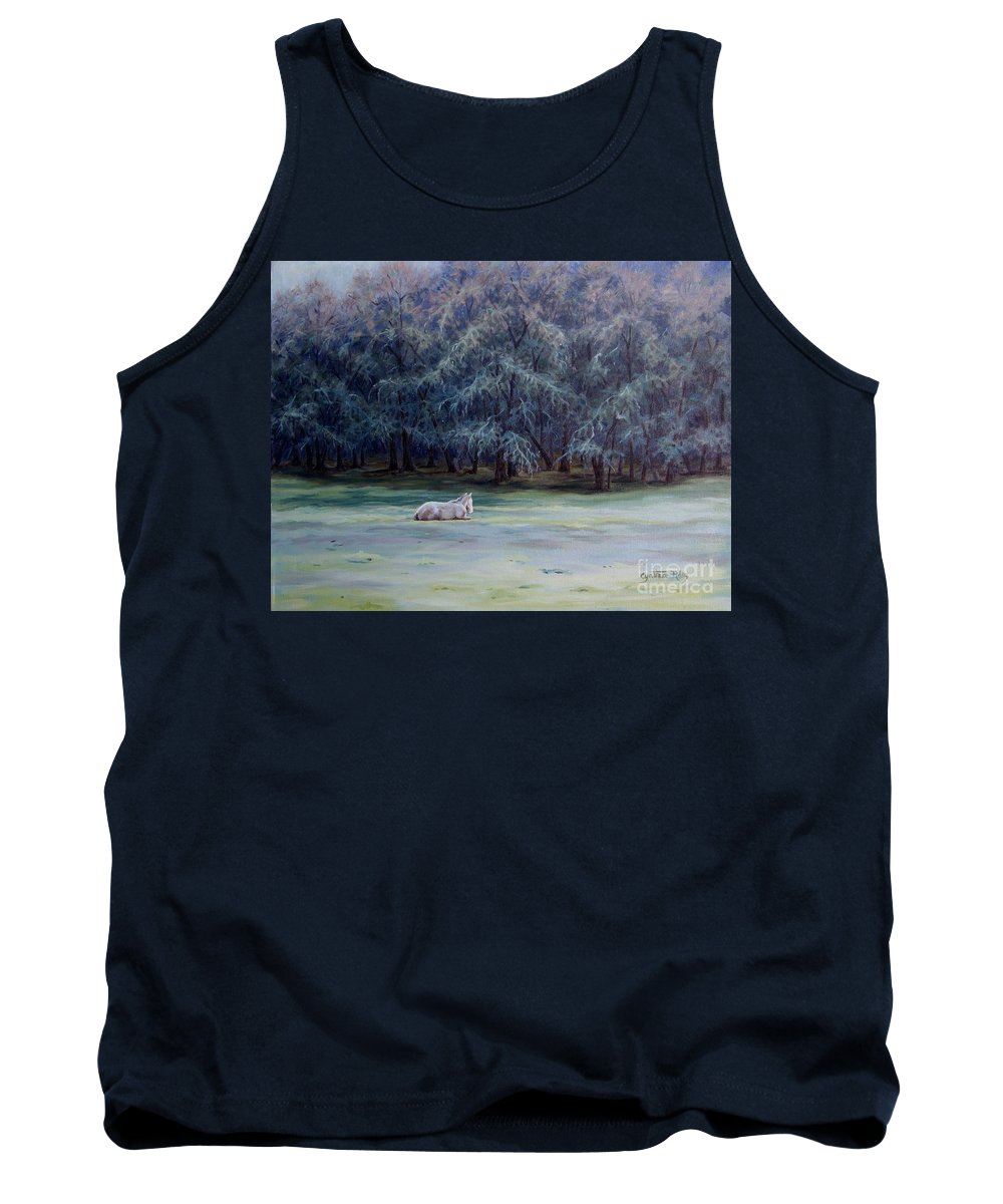 Horse Oil Painting Tank Top featuring the painting Frosty Morning by Cynthia Riley