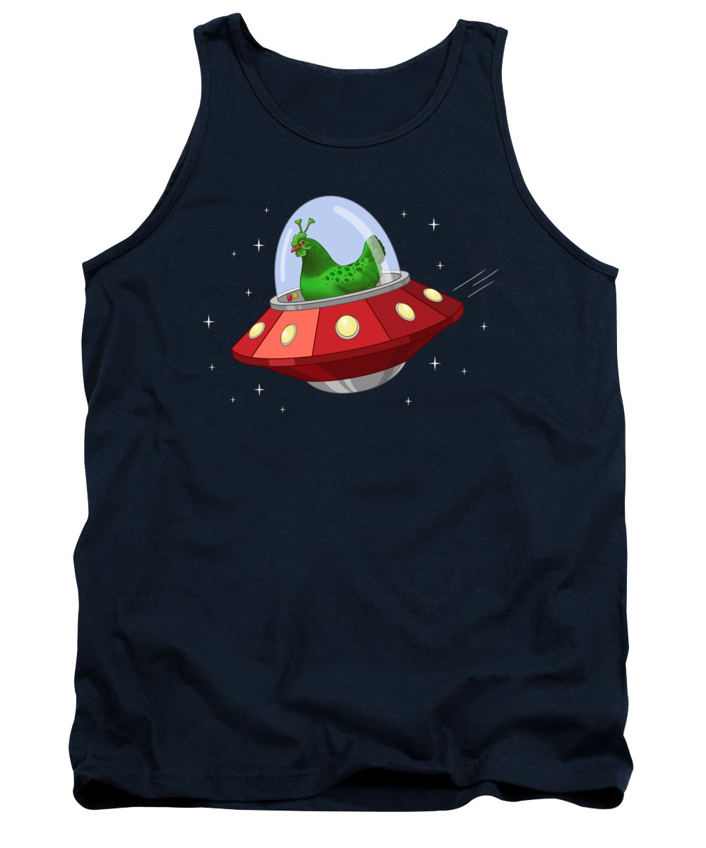 Aliens Tank Top featuring the painting Funny Green Alien Martian Chicken In Flying Saucer by Crista Forest