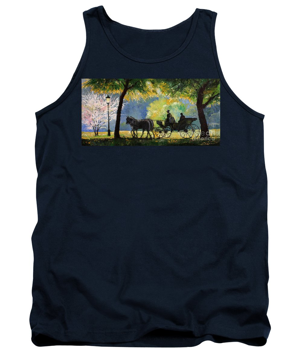 Oil Tank Top featuring the painting Germany Baden-baden Lichtentaler Allee Spring by Yuriy Shevchuk