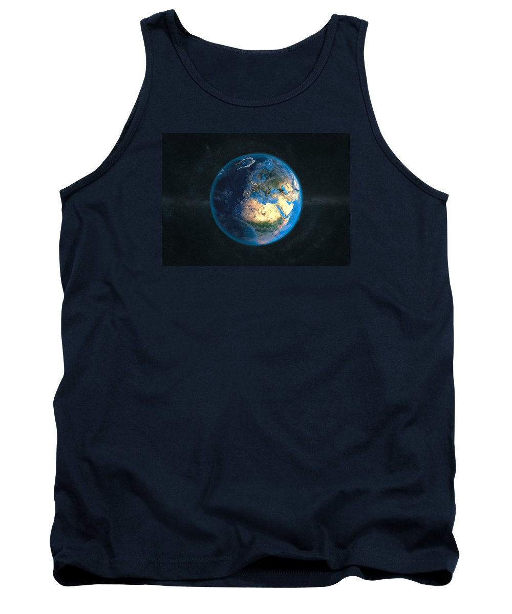 Earth Tank Top featuring the digital art Globe Daynight Europe by Marco Bagni