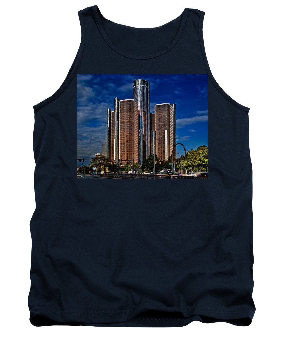Hdr Tank Top featuring the photograph Gm And Marriot Monster In Detroit by Chris Lord