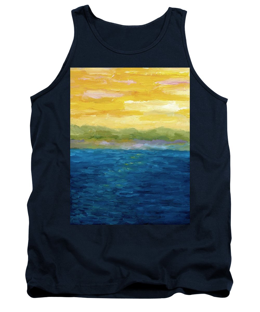 Lake Tank Top featuring the painting Gold And Pink Sunset by Michelle Calkins