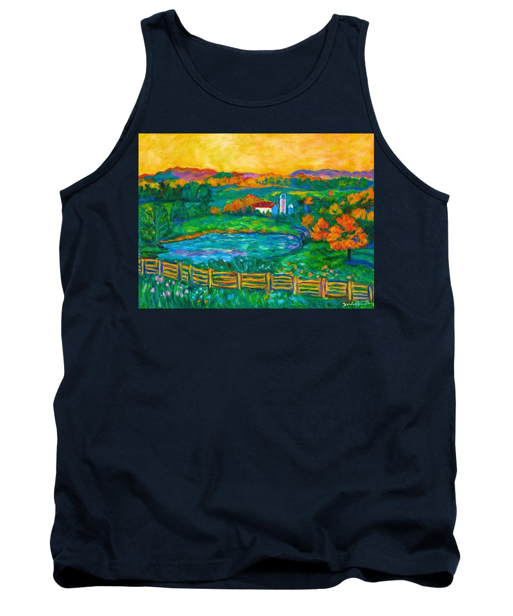 Landscape Tank Top featuring the painting Golden Farm Scene Sketch by Kendall Kessler