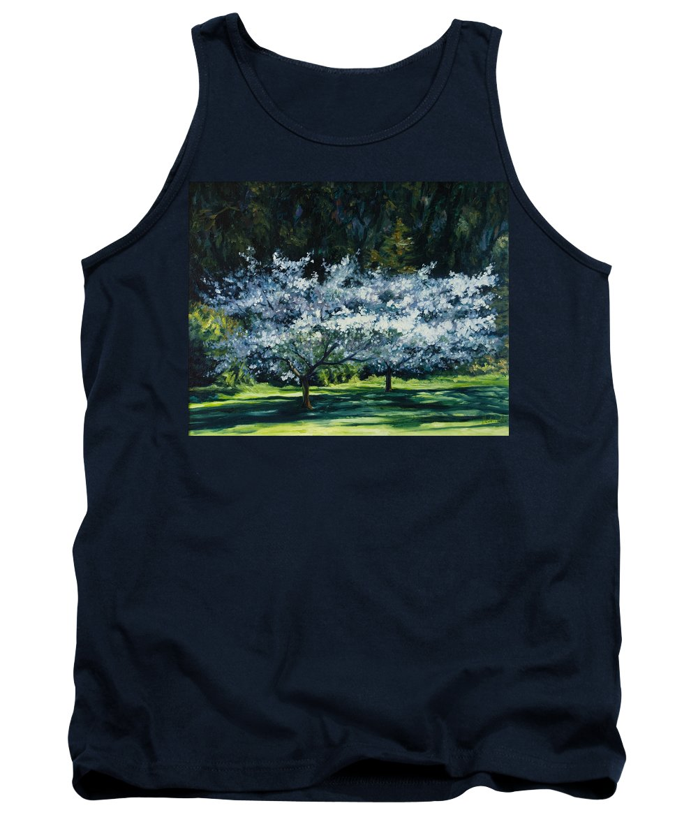 Trees Tank Top featuring the painting Golden Gate Park by Rick Nederlof