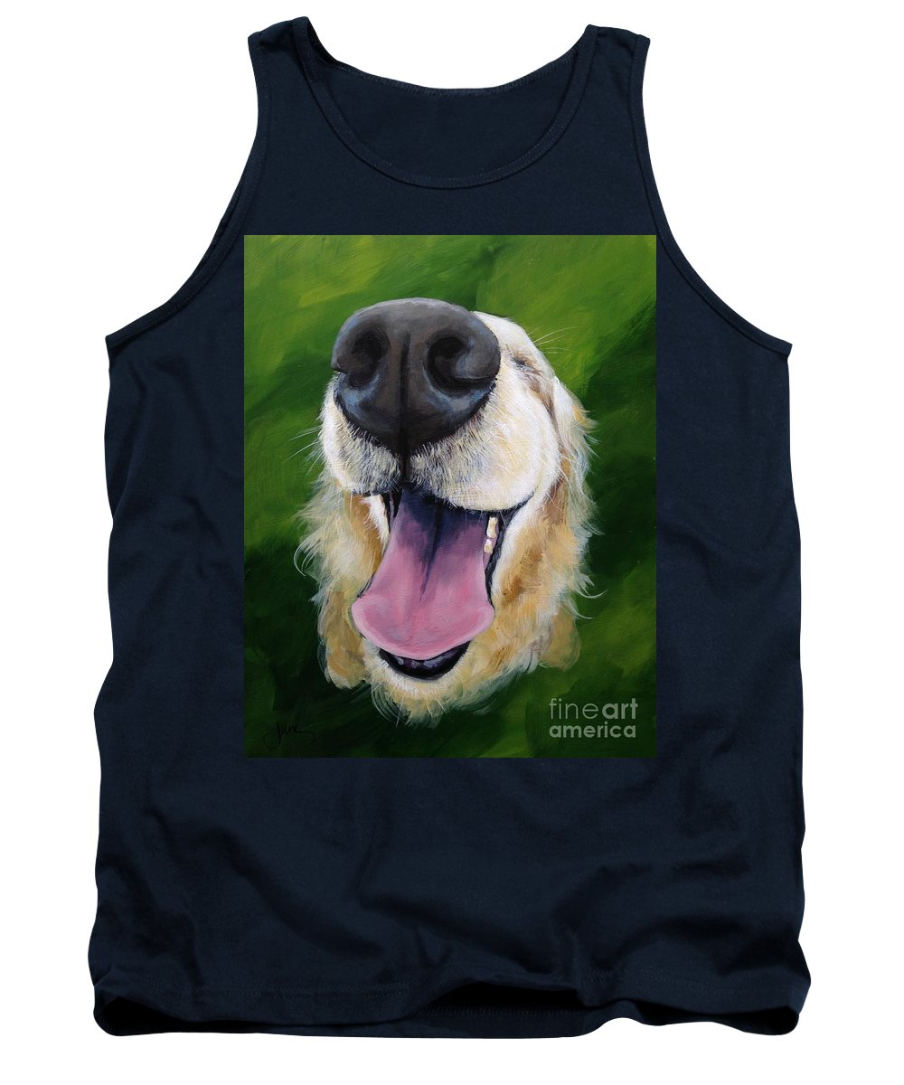 Dog Tank Top featuring the painting Golden Smile by June Huff