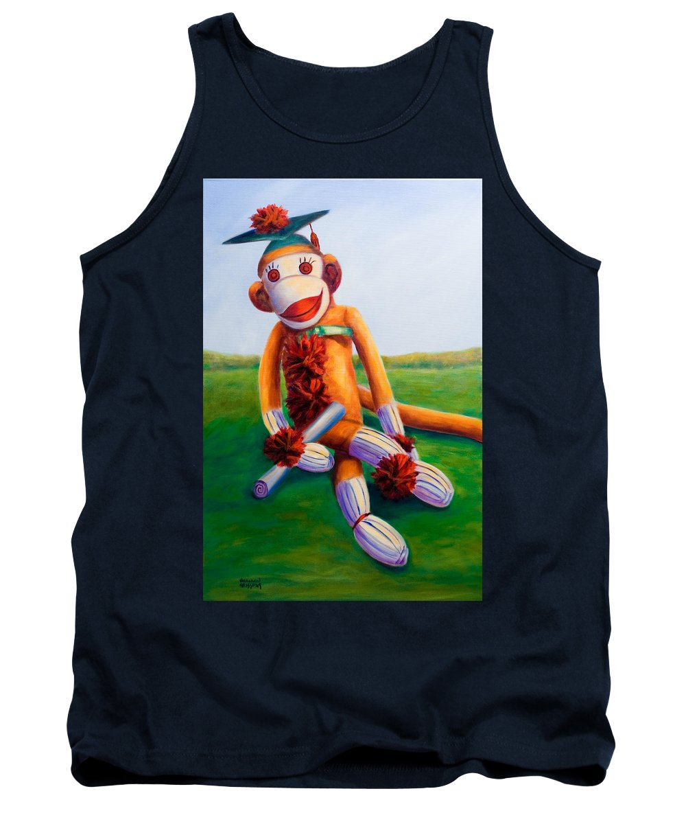 Graduation Tank Top featuring the painting Graduate Made of Sockies by Shannon Grissom