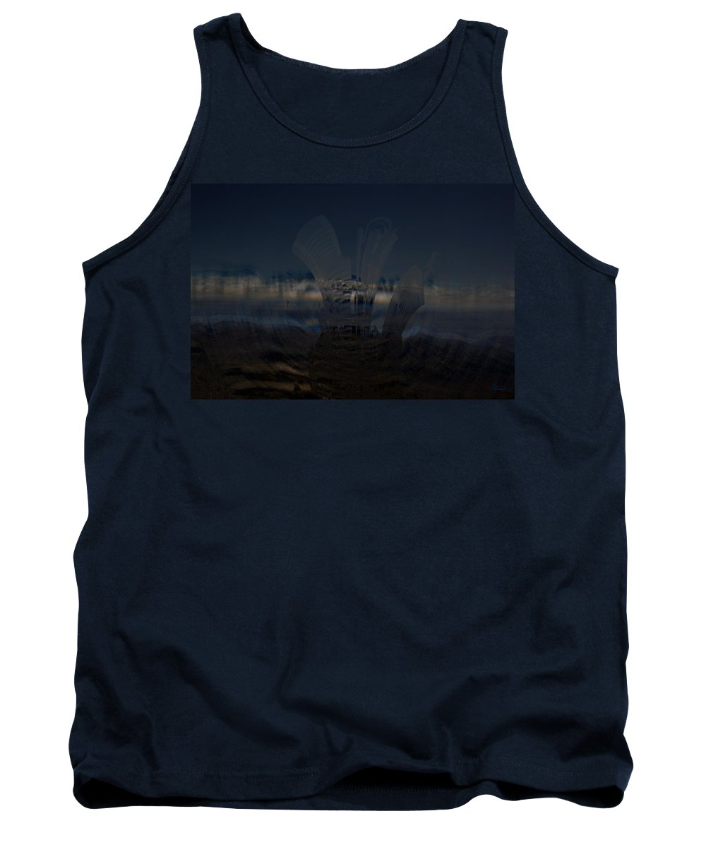 City Skyscape Land Scape Buildings Spinning Weird World Sky Mountains Tank Top featuring the photograph Gravitational Pull by Andrea Lawrence
