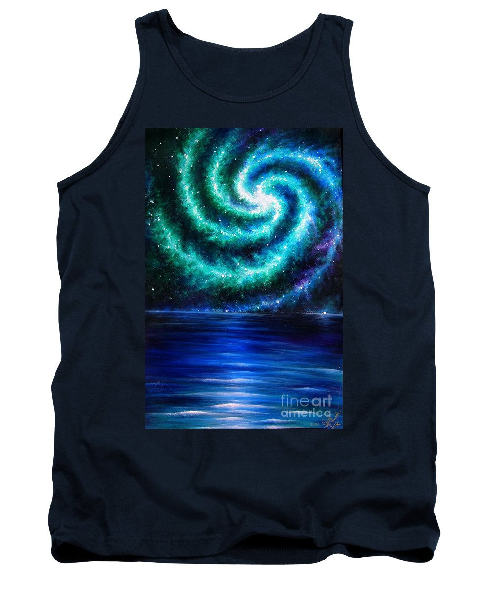 Planet Tank Top featuring the painting Green-blue Galaxy And Ocean. Planet Dzekhtsaghee by Sofia Metal Queen