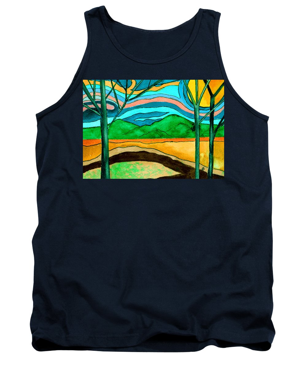 Watercolor Tank Top featuring the painting Green Hill Country by Brenda Owen
