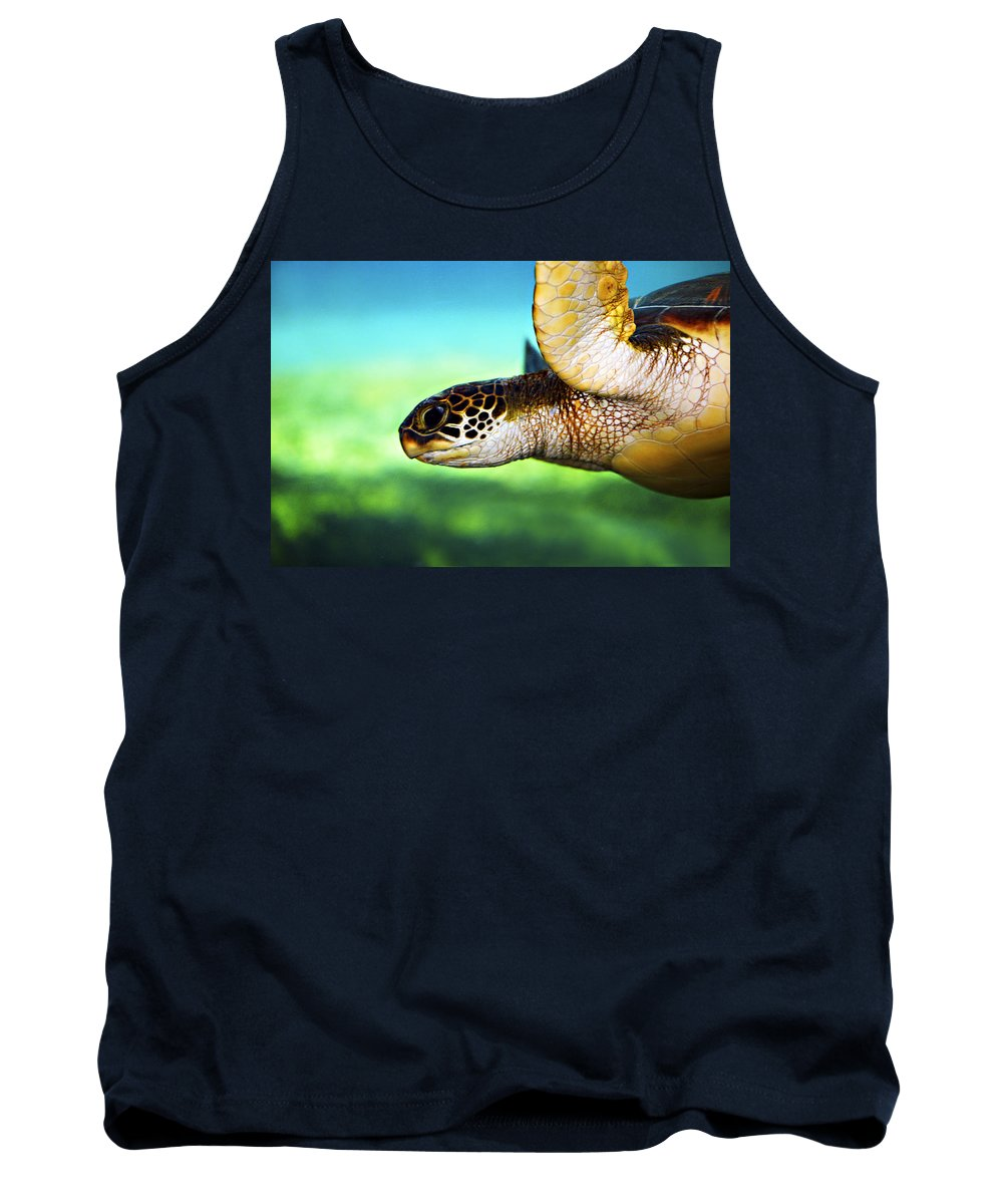 Green Tank Top featuring the photograph Green Sea Turtle by Marilyn Hunt