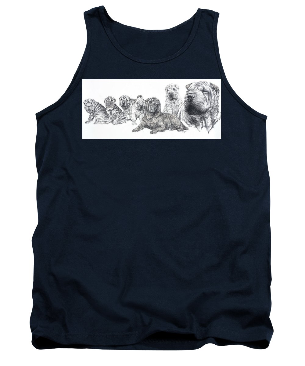 Dog Tank Top featuring the drawing Growing Up Chinese Shar-pei by Barbara Keith