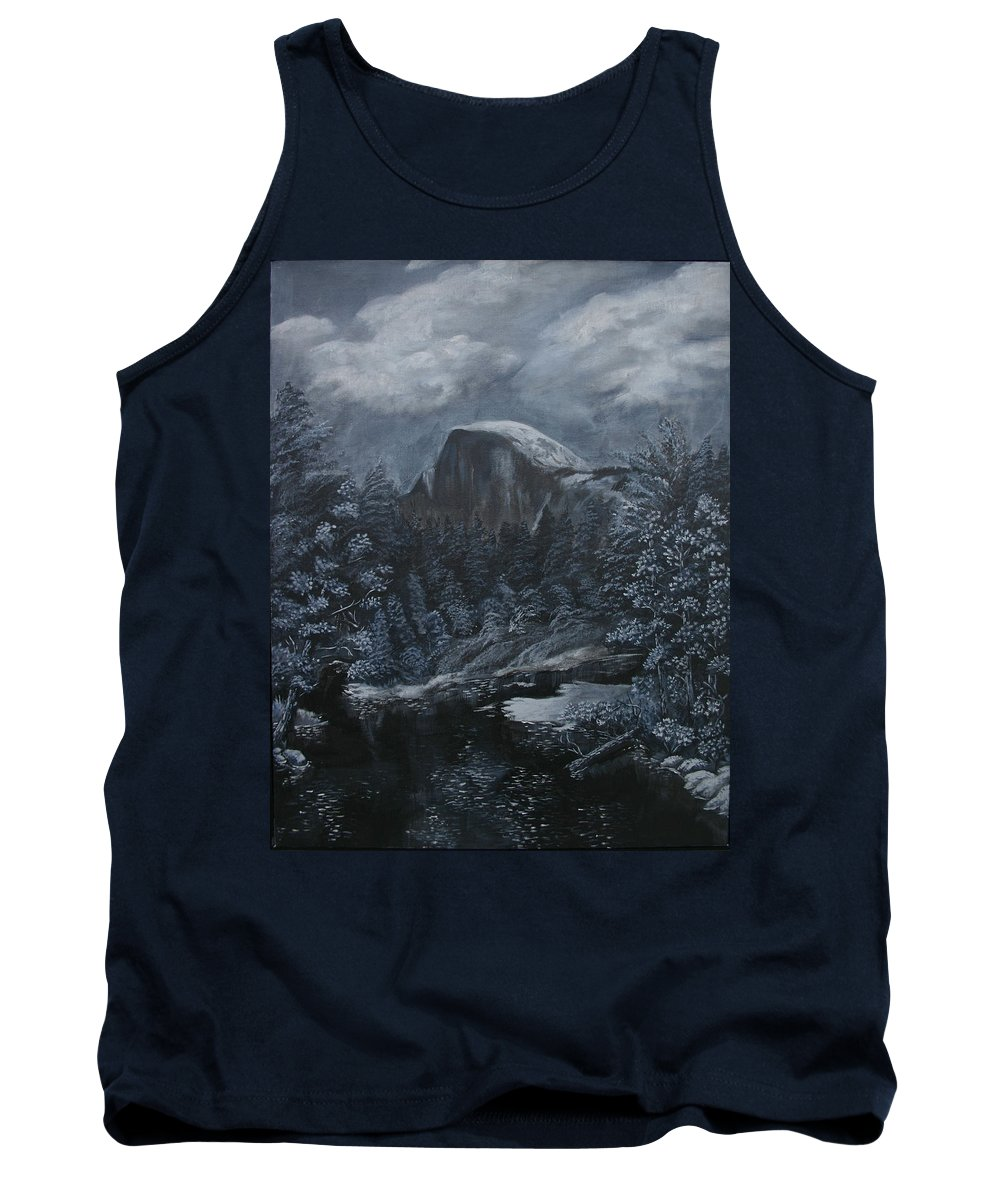 Yosemite Tank Top featuring the painting Half Dome Black And White by Travis Day