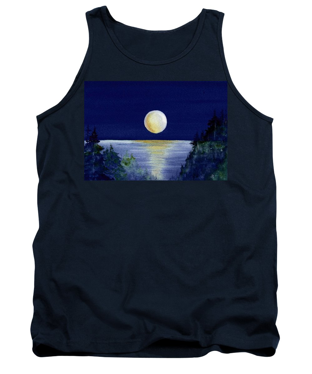 Watercolor Tank Top featuring the painting Harvest Moon by Brenda Owen