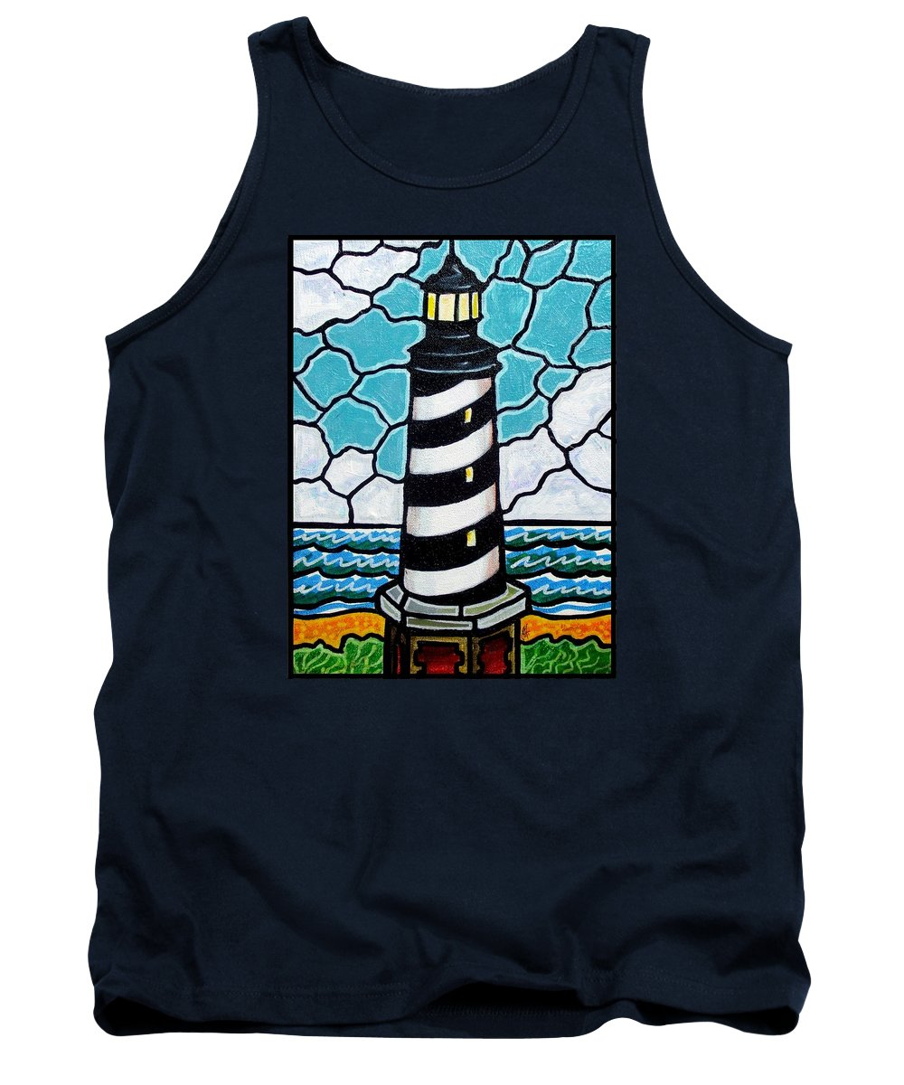 Lighthouse Tank Top featuring the painting Hatteras Island Lighthouse by Jim Harris