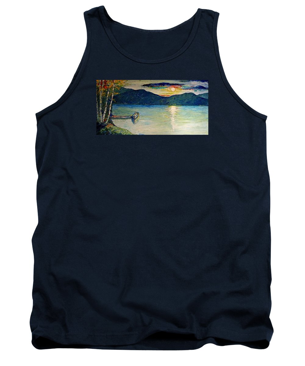 Landscape Tank Top featuring the painting Hauser Lake by Jo Gerrior