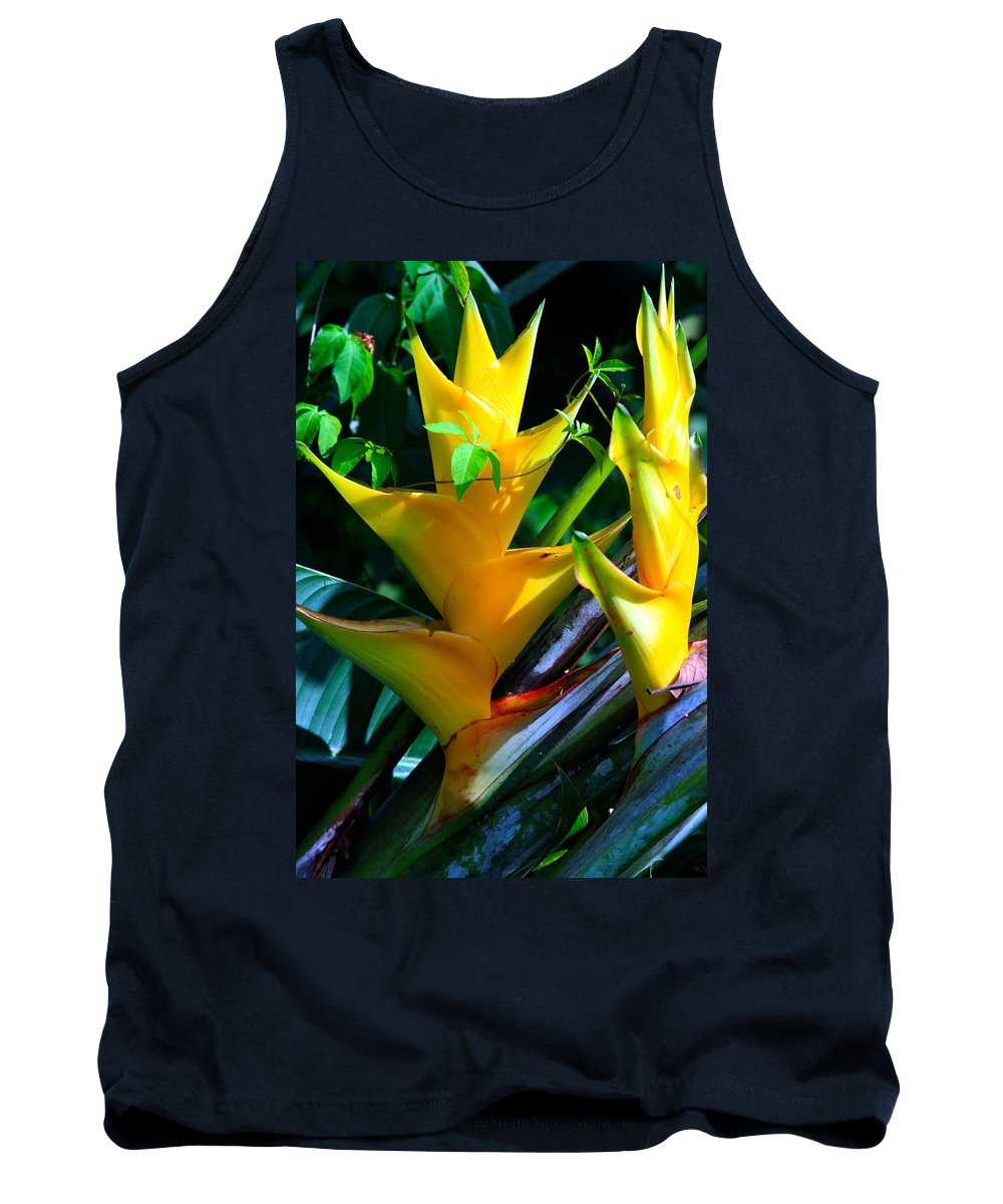 Heliconia Tank Top featuring the photograph Heliconia Caribea Gold by Karon Melillo DeVega