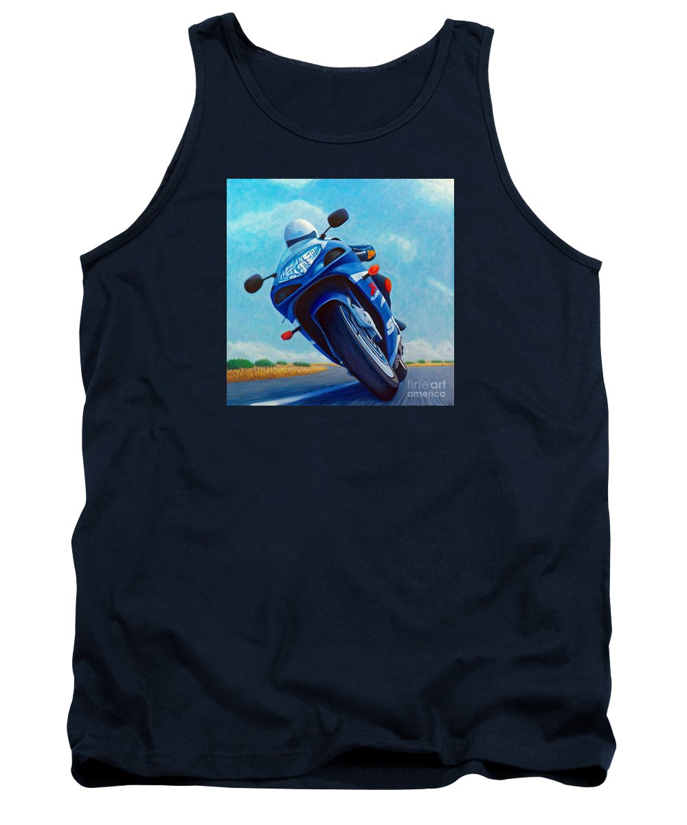 Motorcycle Tank Top featuring the painting High Desert Pass - Suzuki Gsxr1000 by Brian Commerford