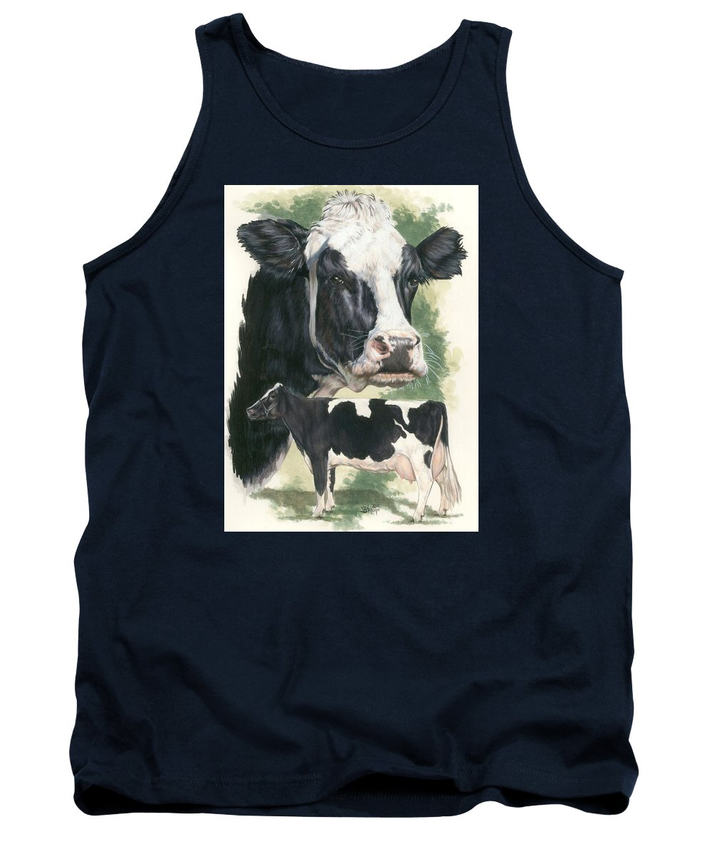 Cow Tank Top featuring the mixed media Holstein by Barbara Keith
