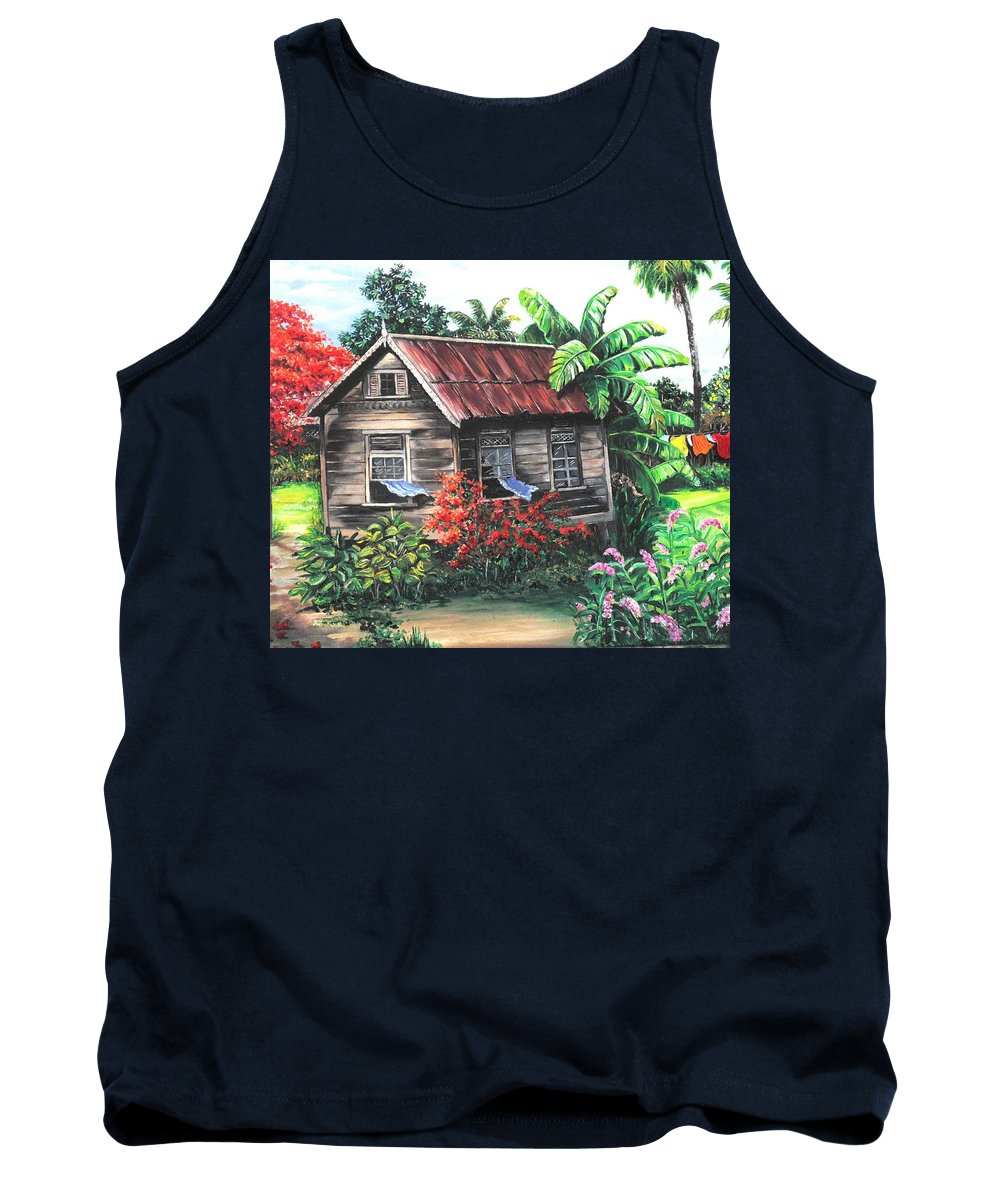Caribbean House Tank Top featuring the painting Home Sweet Home by Karin Dawn Kelshall- Best