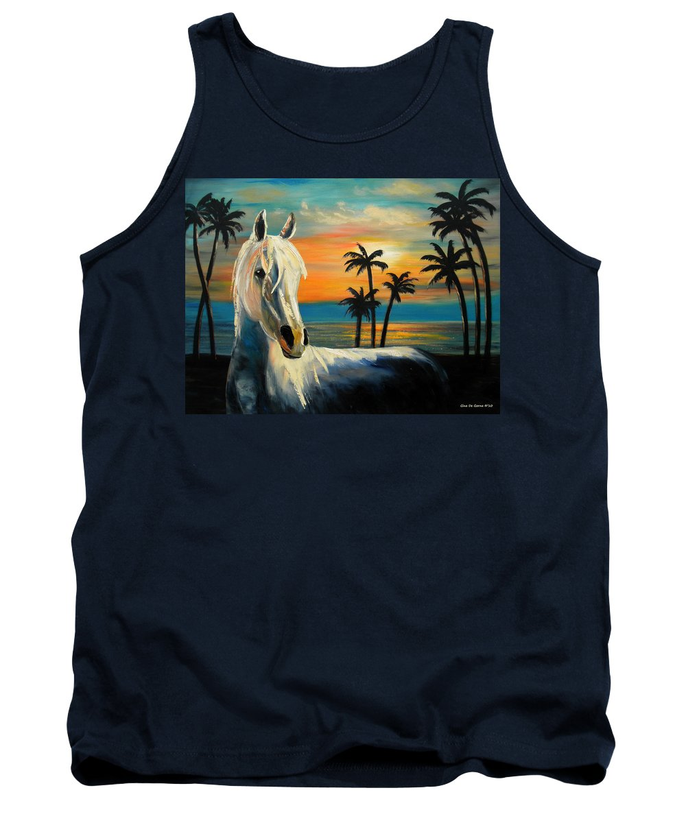 Horse Tank Top featuring the painting Horses In Paradise Tell Me Your Dream by Gina De Gorna