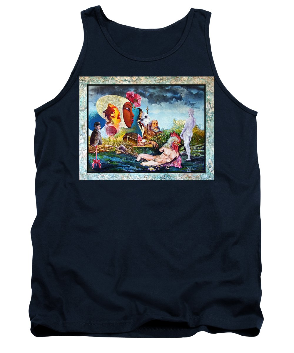 Surrealism Tank Top featuring the mixed media Hour Of The Cock by Otto Rapp