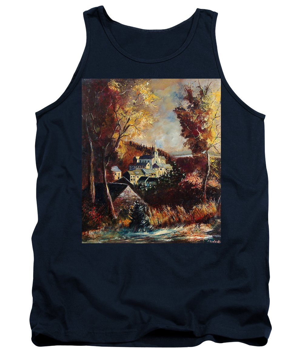 Tree Tank Top featuring the painting Houyet Village Belgium by Pol Ledent