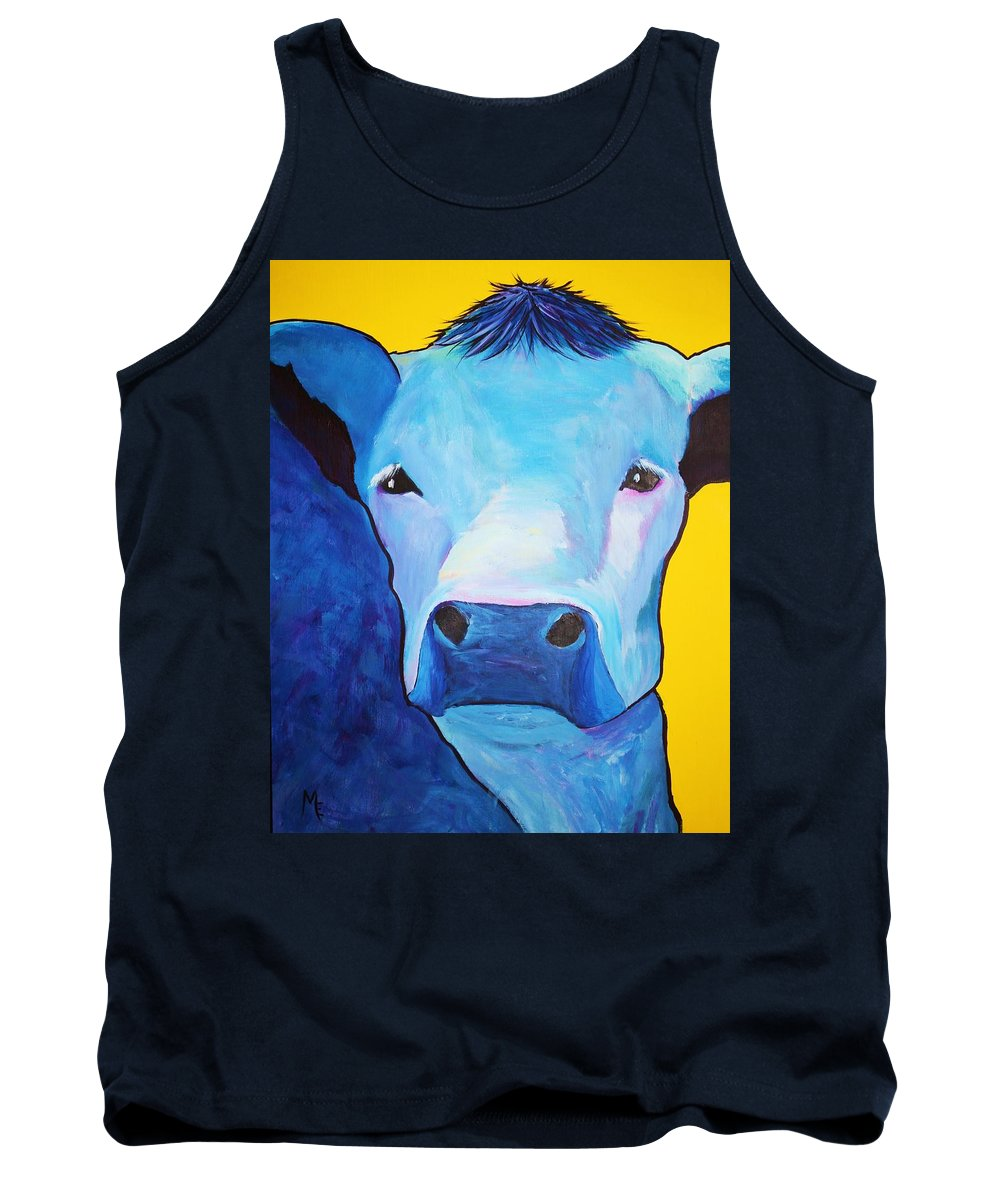 Cow Tank Top featuring the painting I Am So Blue by Melinda Etzold