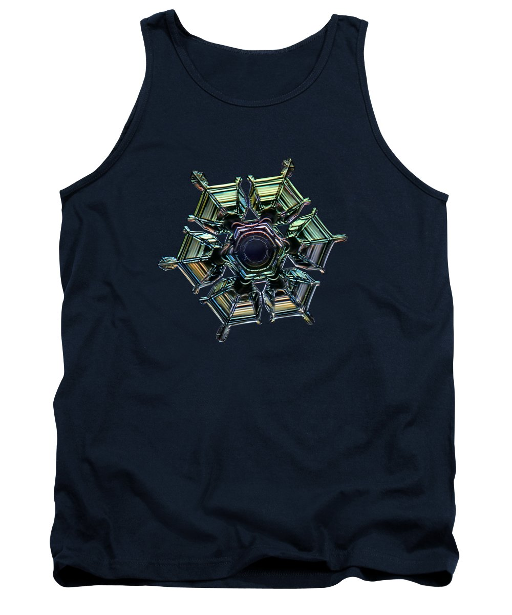 Snowflake Tank Top featuring the photograph Ice Relief, Black Version by Alexey Kljatov