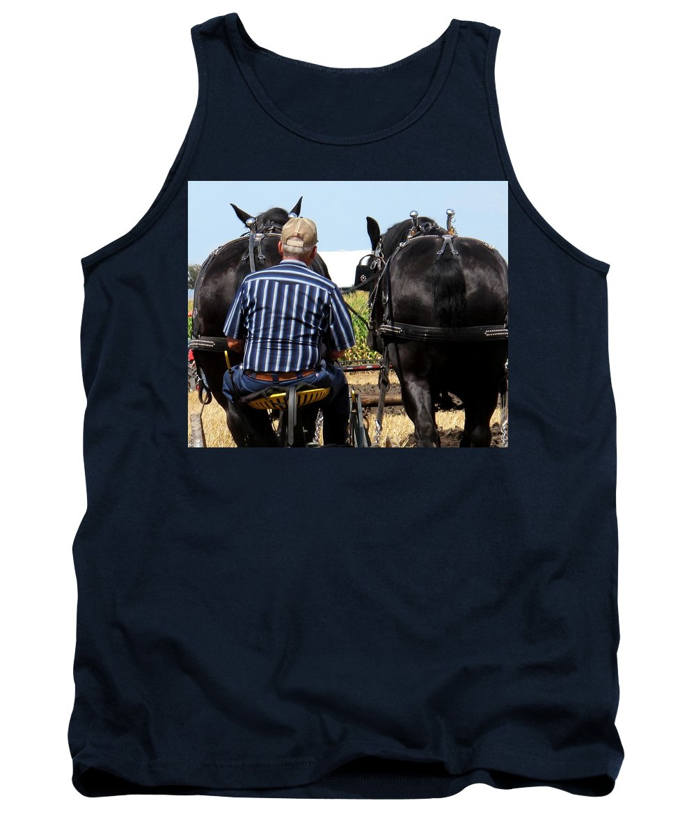 Plow Tank Top featuring the photograph In Sync by Ian MacDonald