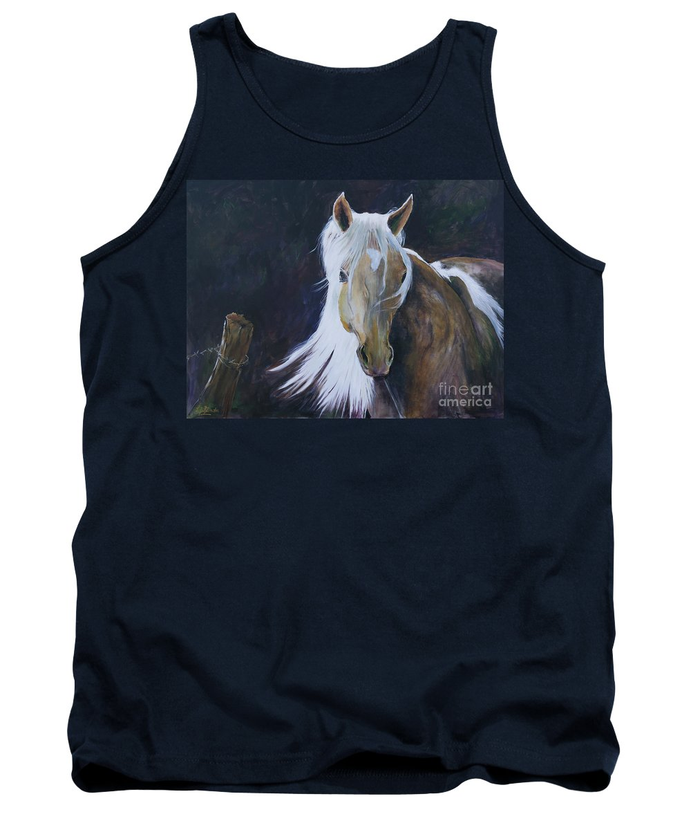 Horse Tank Top featuring the painting In The Moonbeam by Suzanne J Blinder