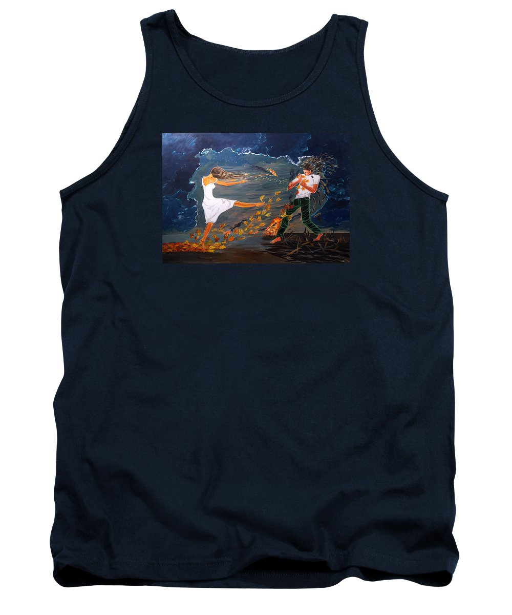 Surreal Tank Top featuring the painting Incendiary by Lazaro Hurtado