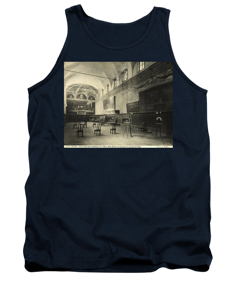 Wall; Fresco; Ecclesistical Interior; Vaulted Ceiling; Da Vinci; Refectory; Convent Tank Top featuring the painting Interior Of The Dining Hall Of The Church Of Santa Maria Delle Grazie Milan by Alinari