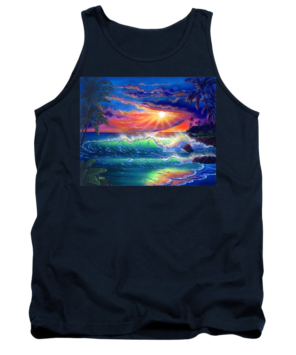 Seascape Tank Top featuring the painting Island Paradise by Angie Hamlin