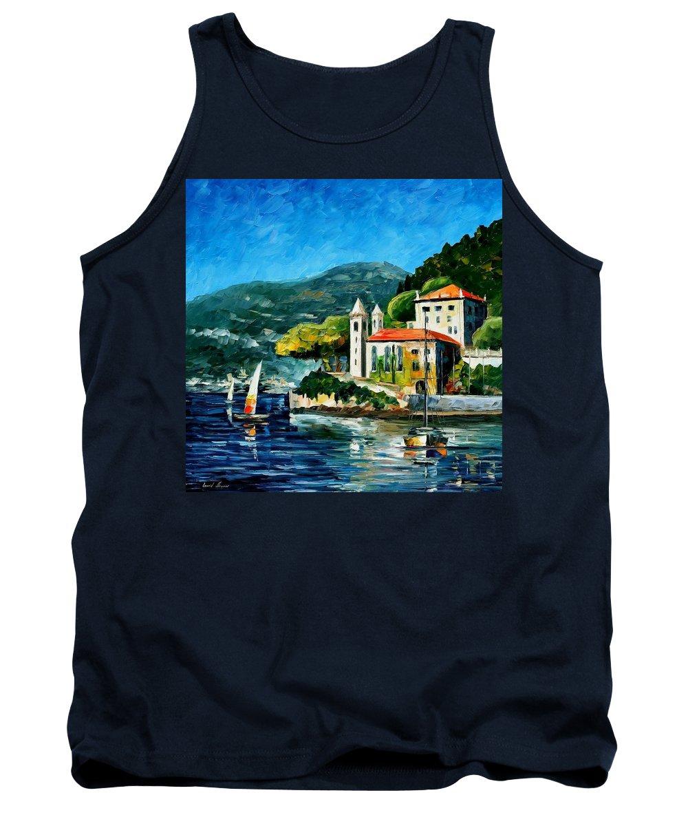 Afremov Tank Top featuring the painting Italy - Lake Como - Villa Balbianello by Leonid Afremov