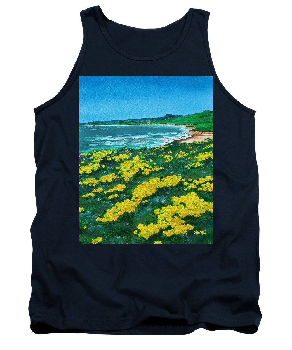 Jalama Tank Top featuring the painting Jalama Beach by Angie Hamlin