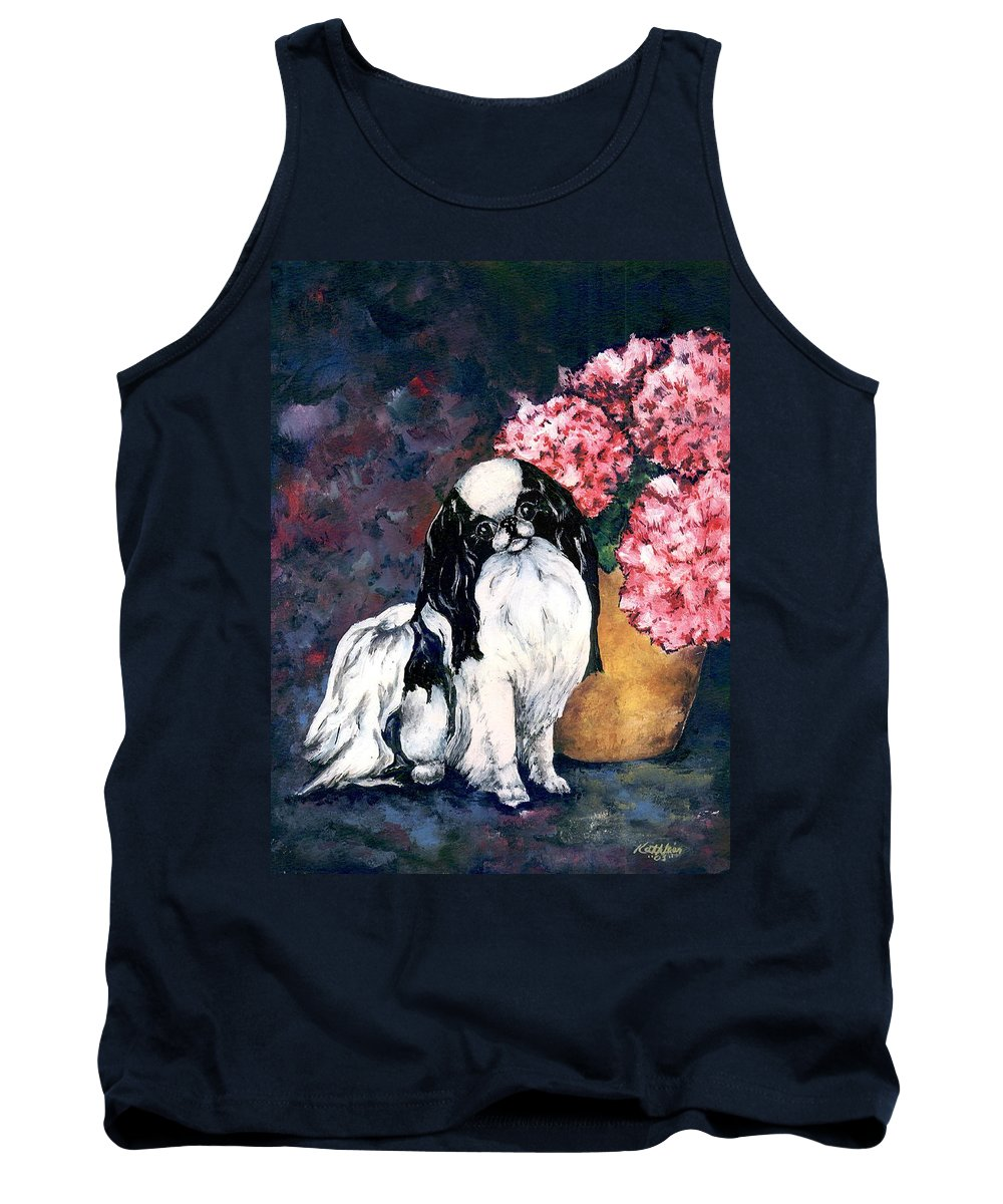 Japanese Chin Tank Top featuring the painting Japanese Chin And Hydrangeas by Kathleen Sepulveda