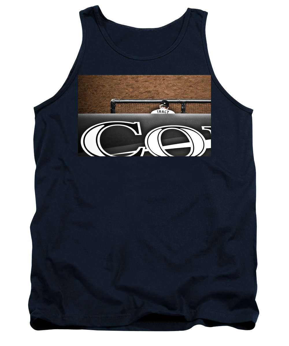Americana Tank Top featuring the photograph Jim Tracy Rockies Manager by Marilyn Hunt