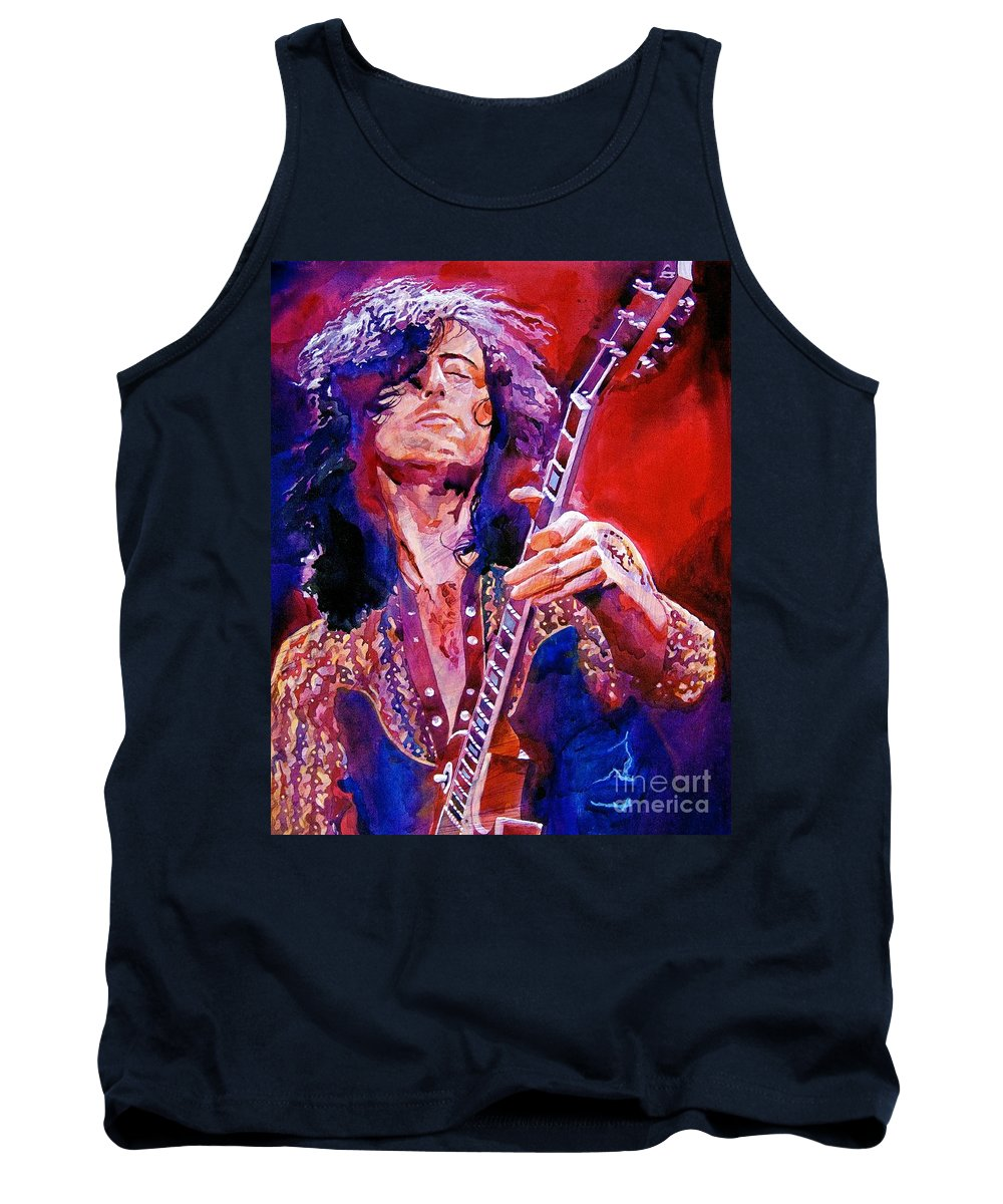 Jimmy Page Tank Top featuring the painting Jimmy Page by David Lloyd Glover