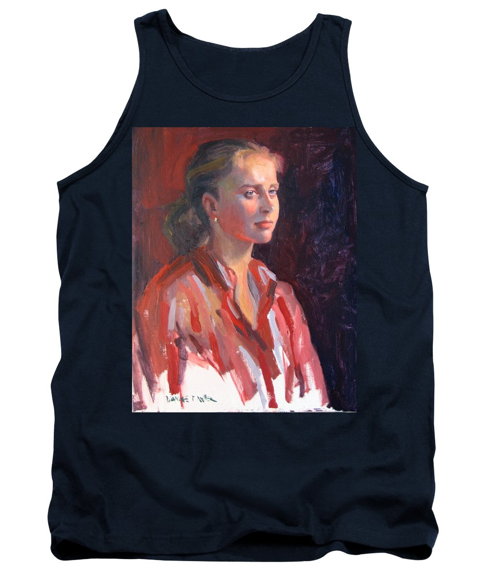 Portrait Tank Top featuring the painting Kate by Dianne Panarelli Miller