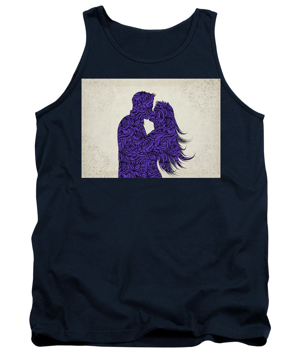 Couple Tank Top featuring the digital art Kissing Couple Silhouette Ultraviolet by Ricky Barnard